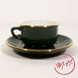 Tasse moka et soucoupe vert empire filet or